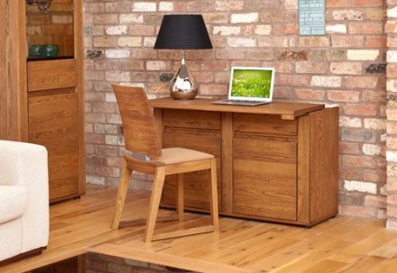 Olten Dark Oak Hideway Storage Desk/Sideboard